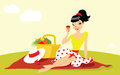 Picnic beautiful woman in s style sitting on the blanket Stock Photos