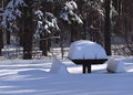 Picnic Bench Covered With Snow