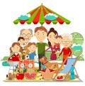 Picnic family vector illustration