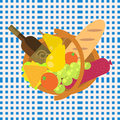 Picnic food barbecue basket on a blue seamless Royalty Free Stock Photo