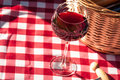 Picnic glass of wine and basket on red checkered table cloth Royalty Free Stock Images