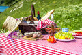 Picnic on the grass tasted near a lake Stock Image