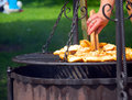 Picnic grilling cheese on a Royalty Free Stock Photography