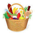 Picnic Hamper with Food Stock Photography