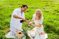Picnic at the meadow with wine couple celebrating together Stock Photos