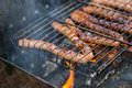 Picnic in nature with german sausages on the grill Royalty Free Stock Photo