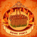 Picnic party in meadow with picnic basket and autumn leaves grass retro invitation card print postcard poster hand drawn vector Stock Photos