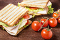 Picnic sandwiches with chicken breast salad cheese and tomatoes on wooden table Royalty Free Stock Images