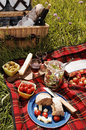 Picnic serie with diffferent sorts of snacks on a blanket Stock Photos