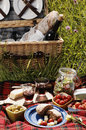 Picnic serie with diffferent sorts of snacks on a blanket Royalty Free Stock Image