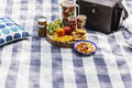 Picnic setting with food outside and drinks Royalty Free Stock Photos