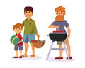 Picnic setting with fresh food hamper basket barbecue resting couple and summer meal party family people lunch garden