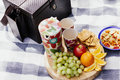 Picnic setting with fresh food outdoors Stock Photo