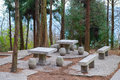 Picnic stone tables and benches on a backyard patio Stock Photos