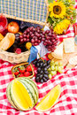 Picnic summer with a basket of food in the park Stock Photo