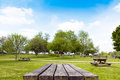 Picnic table with blue sky Royalty Free Stock Photo