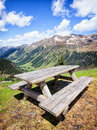 Picnic table at the european alps Stock Photography