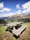 Picnic table at the european alps Stock Image