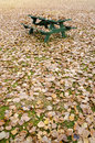 Picnic table hidden under golden autumn leaves in an empty park Royalty Free Stock Photography