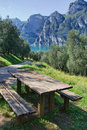 Picnic table with lake view Royalty Free Stock Photo