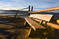Picnic table at mountains Royalty Free Stock Photo