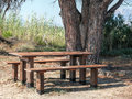 Picnic table near posada place river rio town coast of the tyrrhenian sea Stock Images