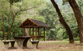 Picnic table and pavilion at countryside Royalty Free Stock Photo
