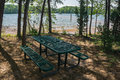 Picnic Table by Smith Mountain Lake Royalty Free Stock Photo