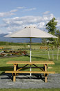 Picnic Table Umbrella Royalty Free Stock Photo
