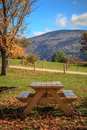 Picnic table with view a a of the mountains in the autumn season manchester vermont Stock Image