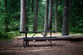 Picnic table in the wilderness image of a at a campsite Stock Images