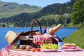 Picnic time in french alpine mountain Stock Photos