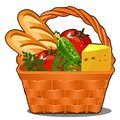 Picnic wicker basket with food product, fresh vegetables, piece of cheese, fresh loaf isolated on white background Royalty Free Stock Photo