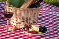 Picnic wine cheese and fruit in the park on red checkered table cloth Royalty Free Stock Photo