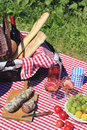 Picnic and wine in french with Royalty Free Stock Image