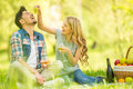 Picnic young beautiful couple dressed casual having in park eating grape and drinking wine Stock Photography