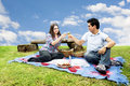 Picnic with young and happy couple in spring Royalty Free Stock Photography