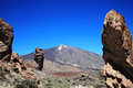 Pico de teide and roque cinchado tenerife canary islands spain is a volcano in el national park is a world heritage site in the Royalty Free Stock Photography