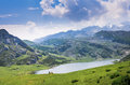 Picos de europa meadow in the lagos covadonga in the asturias spain Royalty Free Stock Images