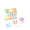 Picto some cube about network do with pictogram and easy to customize Royalty Free Stock Images