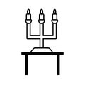Pictogram chandelier candles decorative on table wedding design