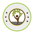 Pictogram of circular frame with tree with human form