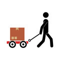 pictogram of man and hand truck and packages