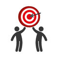 Pictogram of men and target with arrow Royalty Free Stock Photo