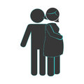 Pictogram monochrome with mom pregnant and husband