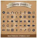 Pictogram multimedia symbols set Royalty Free Stock Photography