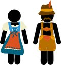 Pictogram Oktoberfest beer festival greeting card. Man and woman icons in traditional bavarian costume signs for