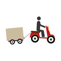 Pictogram in scooter with Freight car icon