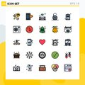 Pictogram Set of 25 Simple Filled line Flat Colors of hospital chart, clinical record, music, security, safety