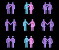 Pictogrammes modernes de couples Photos stock